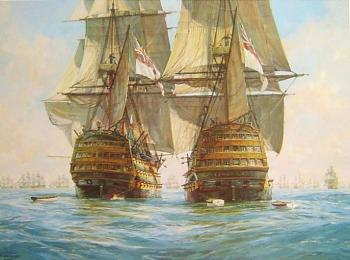 Victory races Temeraire for the enemy line, Trafalgar, 21st October 1805
