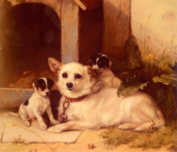 Walter Hunt : Mother And Puppies Resting