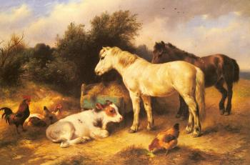 Ponies, A Calf and Poultry In a Farmyard