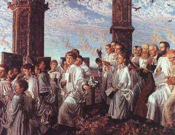 William Holman Hunt : May Morning on Magdalen Tower Oxford
