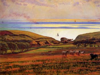 William Holman Hunt : Fairlight Downs Sunlight on the Sea