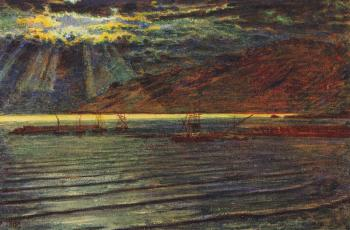William Holman Hunt : Fishingboats by Moonlight