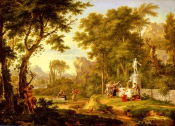 Jan Van Huysum : A classical landscape with the Worship of Bacchus