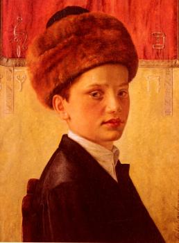 Isidor Kaufmann : Portrait Of A Young Chassidic Boy