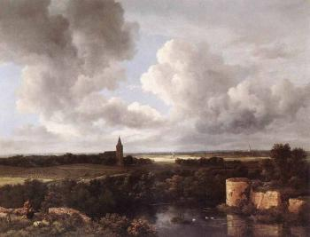Jacob Van Ruisdael : An Extensive Landscape With A Ruined Castle And A Village Church