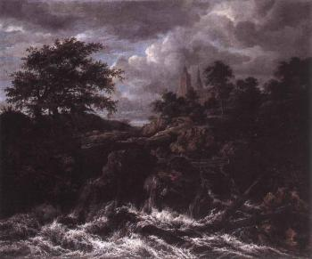 Jacob Van Ruisdael : Waterfall By A Church