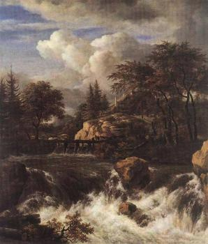 Jacob Van Ruisdael : Waterfall IN A Rocky Landscape