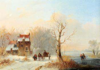 Jacobus Van Der Stok : A Winter Landscape With Skaters On A Frozen Waterway And A Horse drawn Cart