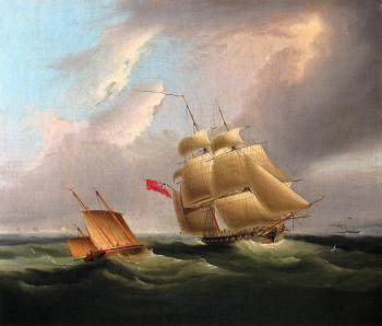 James E Buttersworth : A Sloop of War