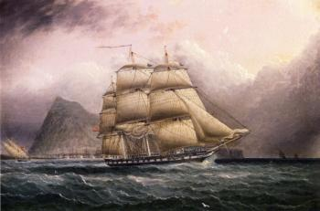 James E Buttersworth : American Frigate off Gilbraltar
