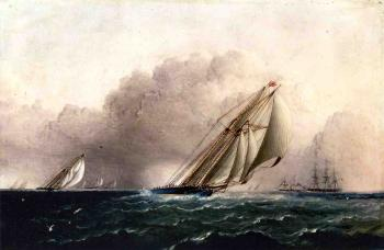 James E Buttersworth : NYYC. Schooner Yacht Estelle Running Home