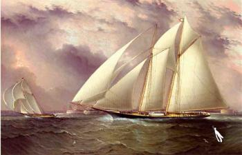Schooner Racing off New York Harbor
