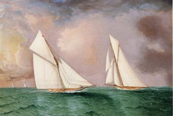 Vigilant and Valkyrie II in the 1893 America's Cup Race
