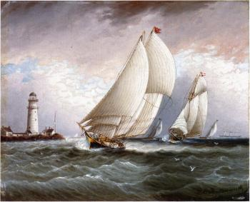 Yacht Race Near Lighthouse