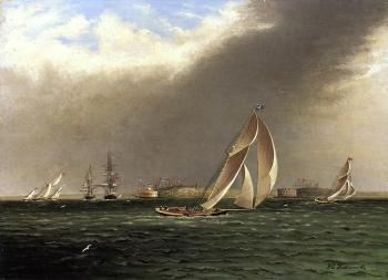 James E Buttersworth : Yacht Racing off Castle Garden, New York