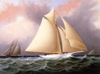 James E Buttersworth : Yacht under Full Sail