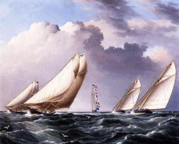 James E Buttersworth : Yachts Rounding the Mark