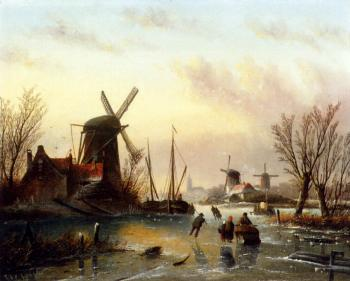 Jan Jacob Coenraad Spohler : A Frozen River Landscape