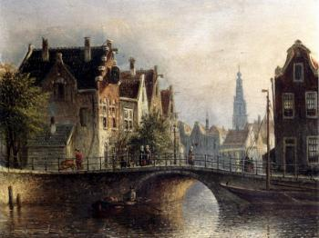 Jan Jacob Coenraad Spohler : Johannes Franciscus Capricio Sunlit Townviews In Amsterdam