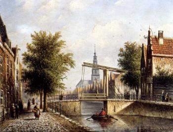 Jan Jacob Coenraad Spohler : Johannes Franciscus Capricio Sunlit Townviews In Amsterdam II