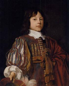 Portrait of a young gentleman in a burgundy doublet with slashed sleeves