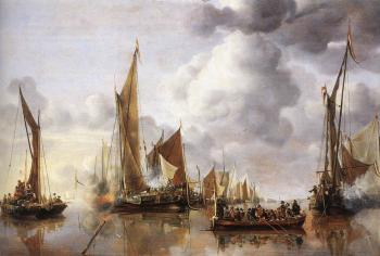 Jan Van De Capelle : The State Barge Saluted by the Home Fleet