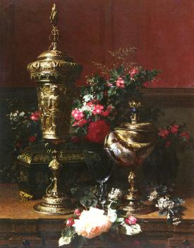 A Still Life With A German Cup, A Nautilus Cup, A Goblet