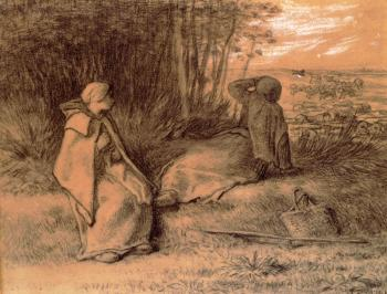 Jean-Francois Millet : Shepherdesses Seated In The Shade