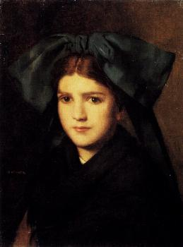 A Portrait Of A Young Girl With A Box In Her Hat