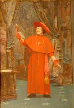 Jehan Georges Vibert : Cardinal Reading a Letter