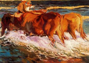 Oxen in the sea, study for Sun of afternoon