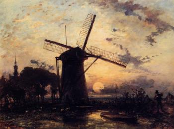 Johan Barthold Jongkind : Boatman by a Windmill at Sundown
