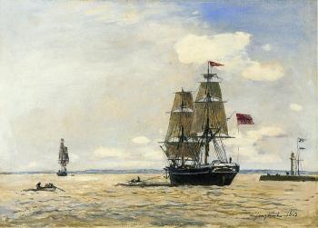 Johan Barthold Jongkind : Norwegian Naval Ship Leaving the Port of Honfleur