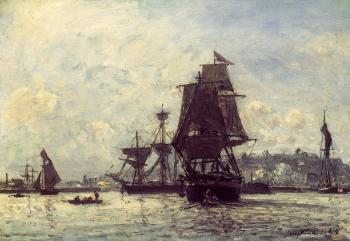Sailing Ships at Honfleur