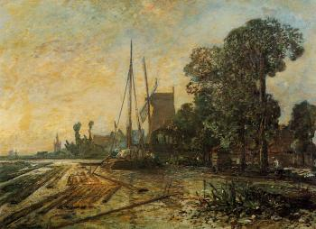 Johan Barthold Jongkind : Windmill near the Water