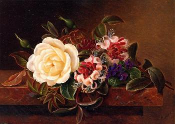 Still Life with a Rose and Violets on a Marble Ledge
