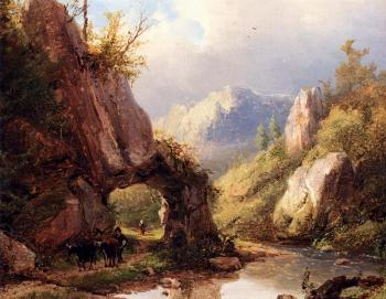 Johann Bernard Klombeck : A Mountain Valley With A Peasant And Cattle Passing Along A Stream