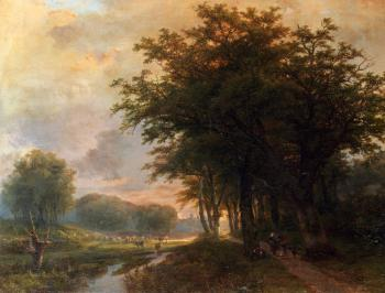 Johann Bernard Klombeck : A Wooded River Valley With Peasants On A Path
