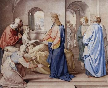 Johann Friedrich Overbeck : Christ Resurrects The Daughter Of Jairu