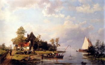Johannes Hermanus Koekkoek : A River Landscape With A Ferry And Figures Mending A Boat