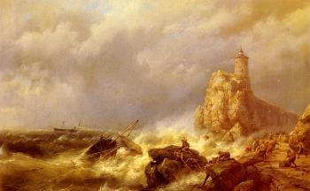 Johannes Hermanus Koekkoek : A Shipwreck In Stormy Seas