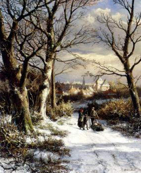 Johannes Hermanus Koekkoek : Barend Figures On A Snowy Road