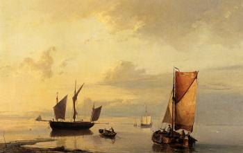 Johannes Hermanus Koekkoek : Barend Shipping In A Calm