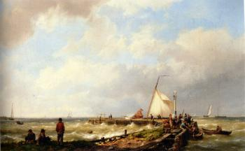 Johannes Hermanus Koekkoek : Bringing in the Catch
