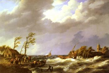 Johannes Hermanus Koekkoek : Dutch fishing Vessel caught On a Lee Shore With Villagers
