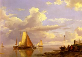 Johannes Hermanus Koekkoek : Fishing Boats Off The Coast At Dusk