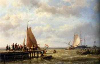 Johannes Hermanus Koekkoek : Provisioning a Tall Ship at Anchor