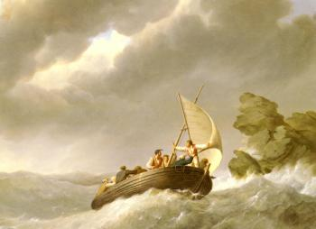 Johannes Hermanus Koekkoek : Sailing The Stormy Seas