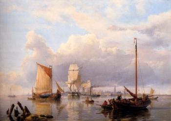 Johannes Hermanus Koekkoek : Shipping On The Scheldt With Antwerp In The Background