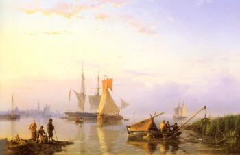 Johannes Hermanus Koekkoek : Shipping In A Calm Amsterdam